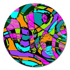 Abstract Sketch Art Squiggly Loops Multicolored Magnet 5  (round)