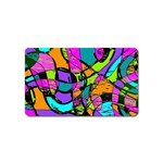 Abstract Sketch Art Squiggly Loops Multicolored Magnet (Name Card) Front