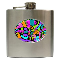 Abstract Sketch Art Squiggly Loops Multicolored Hip Flask (6 Oz) by EDDArt