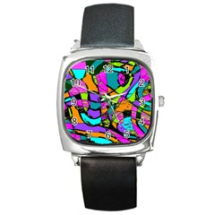 Abstract Sketch Art Squiggly Loops Multicolored Square Metal Watch