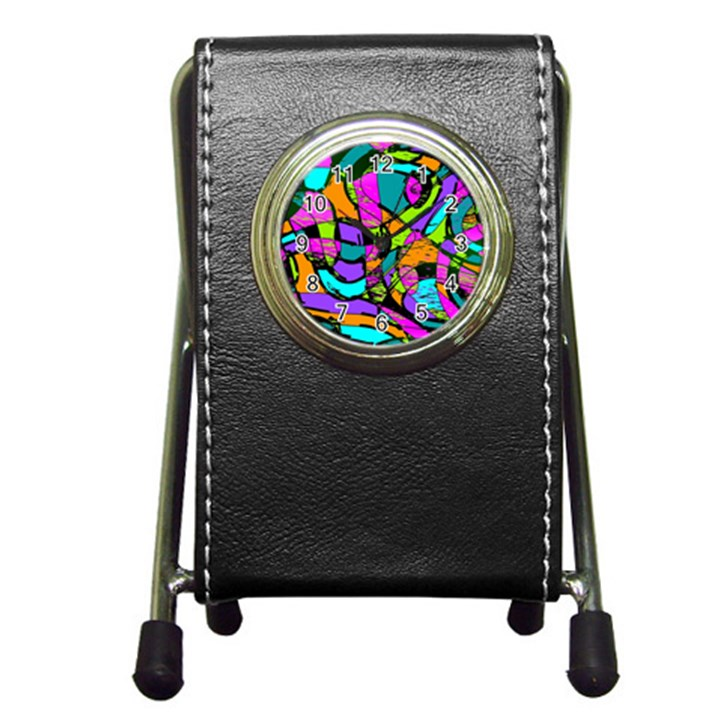 Abstract Sketch Art Squiggly Loops Multicolored Pen Holder Desk Clocks