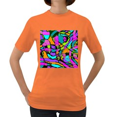 Abstract Sketch Art Squiggly Loops Multicolored Women s Dark T Shirt