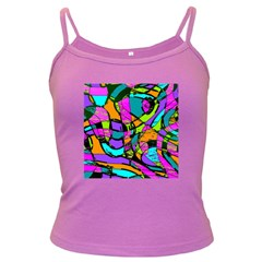 Abstract Sketch Art Squiggly Loops Multicolored Dark Spaghetti Tank