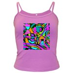 Abstract Sketch Art Squiggly Loops Multicolored Dark Spaghetti Tank Front