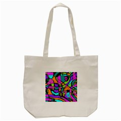 Abstract Sketch Art Squiggly Loops Multicolored Tote Bag (cream) by EDDArt