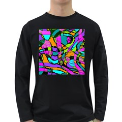 Abstract Sketch Art Squiggly Loops Multicolored Long Sleeve Dark T Shirts