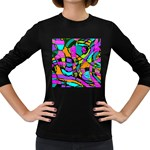 Abstract Sketch Art Squiggly Loops Multicolored Women s Long Sleeve Dark T-Shirts Front