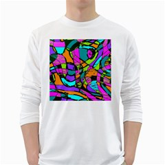 Abstract Sketch Art Squiggly Loops Multicolored White Long Sleeve T Shirts