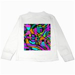 Abstract Sketch Art Squiggly Loops Multicolored Kids Long Sleeve T-Shirts Back