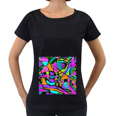 Abstract Sketch Art Squiggly Loops Multicolored Women s Loose Fit T Shirt (black)