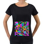 Abstract Sketch Art Squiggly Loops Multicolored Women s Loose-Fit T-Shirt (Black) Front