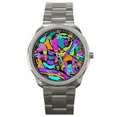 Abstract Sketch Art Squiggly Loops Multicolored Sport Metal Watch by EDDArt