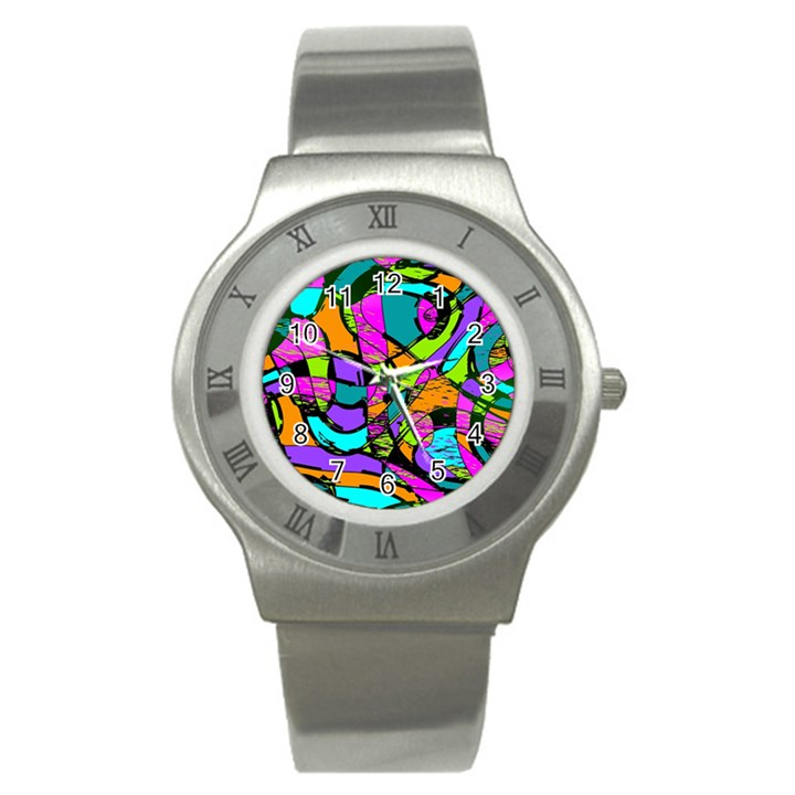 Abstract Sketch Art Squiggly Loops Multicolored Stainless Steel Watch