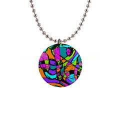 Abstract Sketch Art Squiggly Loops Multicolored Button Necklaces by EDDArt