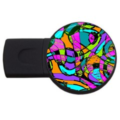 Abstract Sketch Art Squiggly Loops Multicolored Usb Flash Drive Round (4 Gb)  by EDDArt