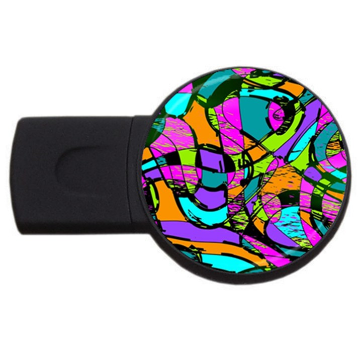 Abstract Sketch Art Squiggly Loops Multicolored USB Flash Drive Round (4 GB)