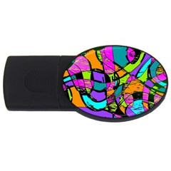 Abstract Sketch Art Squiggly Loops Multicolored Usb Flash Drive Oval (4 Gb)