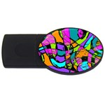 Abstract Sketch Art Squiggly Loops Multicolored USB Flash Drive Oval (4 GB)  Front
