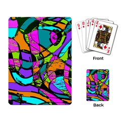 Abstract Sketch Art Squiggly Loops Multicolored Playing Card by EDDArt