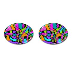 Abstract Sketch Art Squiggly Loops Multicolored Cufflinks (oval)