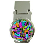 Abstract Sketch Art Squiggly Loops Multicolored Money Clip Watches Front