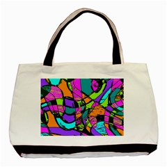 Abstract Sketch Art Squiggly Loops Multicolored Basic Tote Bag by EDDArt