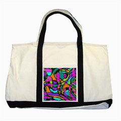 Abstract Sketch Art Squiggly Loops Multicolored Two Tone Tote Bag