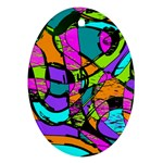 Abstract Sketch Art Squiggly Loops Multicolored Oval Ornament (Two Sides) Front