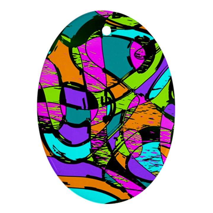 Abstract Sketch Art Squiggly Loops Multicolored Oval Ornament (Two Sides)