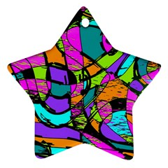 Abstract Sketch Art Squiggly Loops Multicolored Star Ornament (two Sides)  by EDDArt