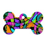 Abstract Sketch Art Squiggly Loops Multicolored Dog Tag Bone (One Side) Front