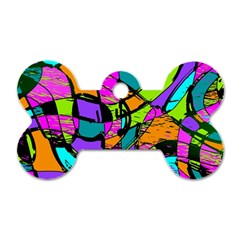 Abstract Sketch Art Squiggly Loops Multicolored Dog Tag Bone (two Sides) by EDDArt