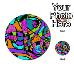 Abstract Sketch Art Squiggly Loops Multicolored Multi Purpose Cards (round)