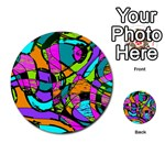 Abstract Sketch Art Squiggly Loops Multicolored Multi-purpose Cards (Round)  Back 9