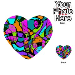 Abstract Sketch Art Squiggly Loops Multicolored Multi Purpose Cards (heart)  by EDDArt