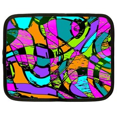 Abstract Sketch Art Squiggly Loops Multicolored Netbook Case (large) by EDDArt