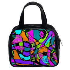 Abstract Sketch Art Squiggly Loops Multicolored Classic Handbags (2 Sides) by EDDArt