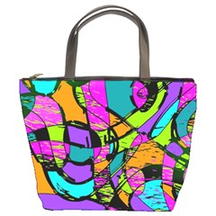 Abstract Sketch Art Squiggly Loops Multicolored Bucket Bags