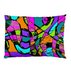 Abstract Sketch Art Squiggly Loops Multicolored Pillow Case by EDDArt