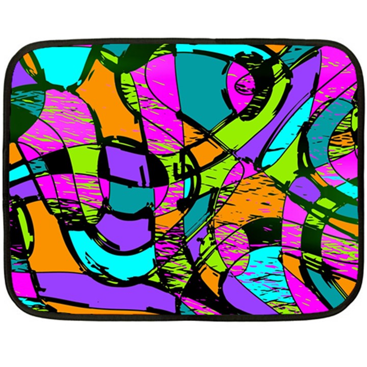 Abstract Sketch Art Squiggly Loops Multicolored Fleece Blanket (Mini)