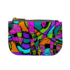 Abstract Sketch Art Squiggly Loops Multicolored Mini Coin Purses