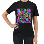 Abstract Sketch Art Squiggly Loops Multicolored Women s T-Shirt (Black) Front
