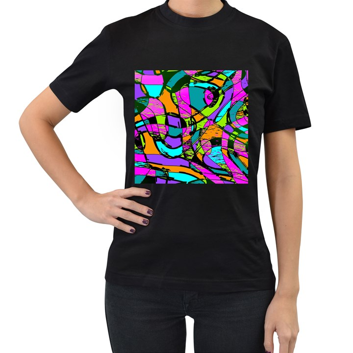 Abstract Sketch Art Squiggly Loops Multicolored Women s T-Shirt (Black)
