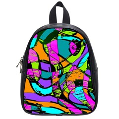 Abstract Sketch Art Squiggly Loops Multicolored School Bags (small)