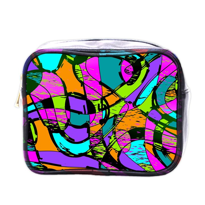 Abstract Sketch Art Squiggly Loops Multicolored Mini Toiletries Bags