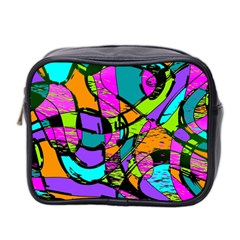 Abstract Sketch Art Squiggly Loops Multicolored Mini Toiletries Bag 2 Side