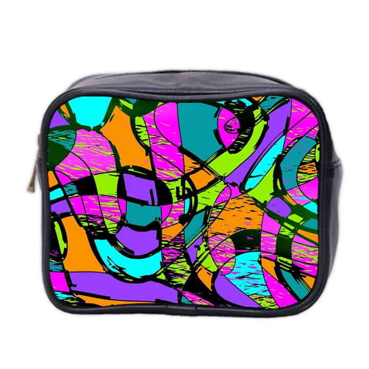 Abstract Sketch Art Squiggly Loops Multicolored Mini Toiletries Bag 2-Side