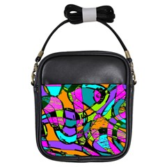 Abstract Sketch Art Squiggly Loops Multicolored Girls Sling Bags by EDDArt