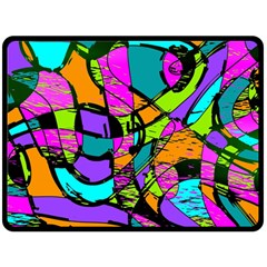 Abstract Sketch Art Squiggly Loops Multicolored Fleece Blanket (large)