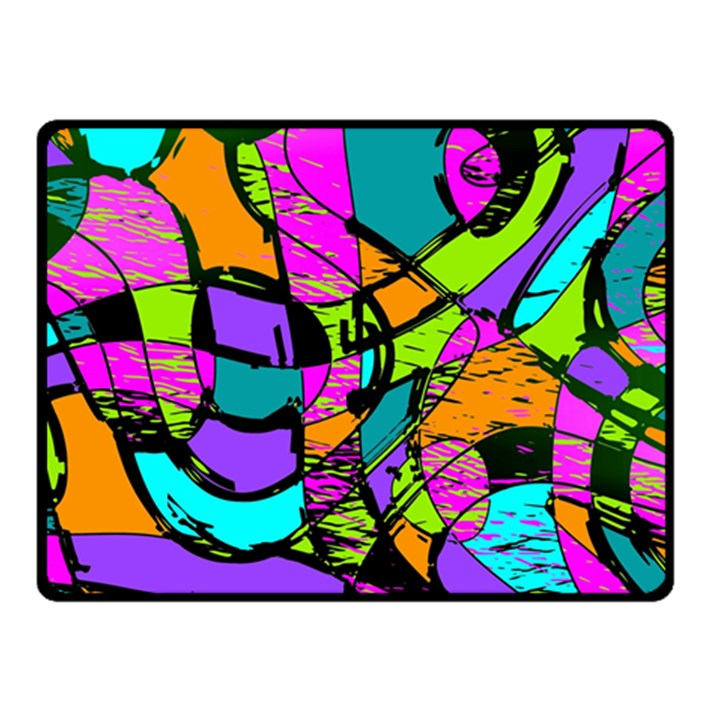 Abstract Sketch Art Squiggly Loops Multicolored Fleece Blanket (Small)